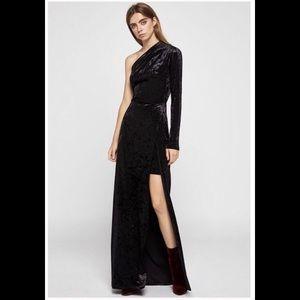 Black crushed velvet maxi dress- BCBGeneration